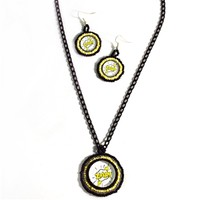 Zap! Electrifying Comic Book Inspired Necklace and Earrings Jewelry Set