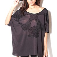 Lace Skull Print Oversize Top In Charcoal|Thirteen Vintage