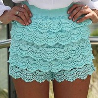 Teal Scalloped Lace High Waist Shorts | UsTrendy