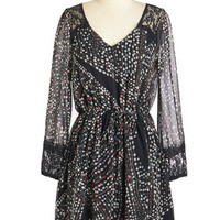ModCloth Mid-length Long Sleeve A-line Pathway of Posies Dress