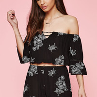 Kendall and Kylie Embroidered Floral Off-The-Shoulder Crop Top at PacSun.com