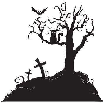 Spooky Graveyard Tree with Bat Wall Decal. Halloween Home Decor. #1014