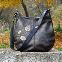 Black gold leather hobo bag. Leather purse leaf decor, medium size leather bag. Leather shoulder bag.
