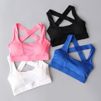 Cross Back Women Sports Bra For Running Gym Shakeproof Fitness Cropped Top Exercise Yoga Bra