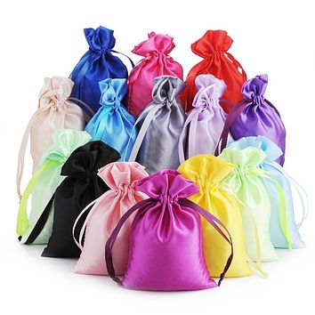 50 Silk Stain Drawstring Bag with Ribbon for Jewelry Hair Travel Watch Shoes Diamond Bead Ring Makeup Gift Packaging Pouch