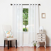 """White Crushed Voil Sheer Grommet Top Curtain 84"""""""" L Pair"""