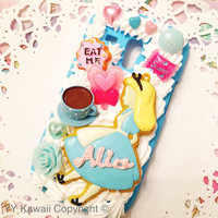 Alice in Wonderland inspired Kawaii Decoden Phonecase for IPhone 4/4s 5 Samsung Galaxy S2 S3 S4 Mini Ace and other