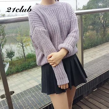 21Club Vintage Style Autumn Winter Women Knitted Sweater Solid Round Neck Student Pullovers 2017 Oct New Wild Loose Sweater