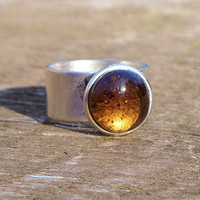 Recycled Amber Vintage Beer Bottle Ring by bottledupdesigns
