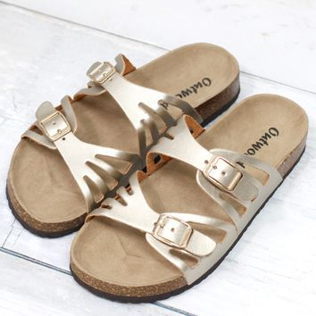 Cut Out Bork Slide On Sandals Metallic Leather Look {Gold} - Size 8