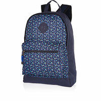 NAVY GEOMETRIC PRINT BACKPACK