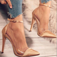 New high-heeled, pointy leather belt buckle for women