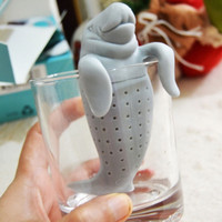 Manatee Infuser Silicone Loose Tea Leaf Strainer Herbal Spice Filter Diffuser (Color: Gray) = 1946421252