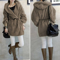 Women Long Hooded Coat Warm Autumn Winter Jacket Cardigan Plush Fleece Jacket = 1930338372