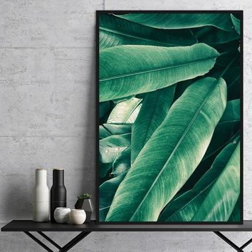 Modular Modern Plant Wall Painting Poster Art decoration for Home Office Decorations green Leaf canvas painting top sell