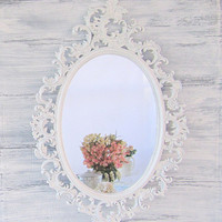 """FRENCH COUNTRY MIRRORS For Sale Oval Shabby Chic Mirror 33""""x21"""" Ornate Mirror Decorative Wall Mirrors Teal Framed Vanity Mirror"""