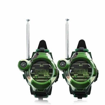 alletronics 2pcs 7 In 1 Walkie Talkies Watch Electronic Radio Interphone Watch Kids Outdoor Toy Gift Child Game Gadget Transformer Watches