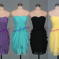 New short chiffon bridesmaid dresses in 2015,custom colors sweetheart bridesmaid gowns hot,cheap simple women dress for wedding party.