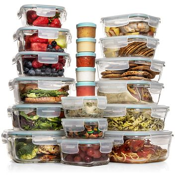 Razab 35 Pc Set Glass Food Storage Containers with Lids - Glass Meal Prep Containers Airtight Glass Bento Boxes BPA-Free 100% Leak Proof (15 lids,15 glass & 5 Plastic Sauce/Dip Containers)