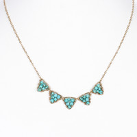NECKLACE / NATURAL BEAD CLUSTER / BIB / TRIANGULAR METAL FRAME / WIRE / LINK / CHAIN / 16 INCH LONG / 1/3 INCH DROP / NICKEL AND LEAD COMPLIANT
