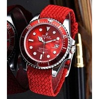 Rolex Stylish Ladies Men Weaves Belt Sport Quartz Watches Couple Wristwatch Red I