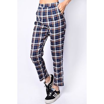 Galloway Plaid Trouser - Navy