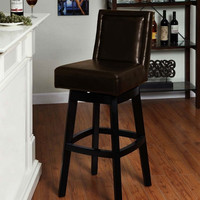 """Wayne Swiverl Barstool In Brown Bicast Leather 26"""" Seat Height by Armen Living"""