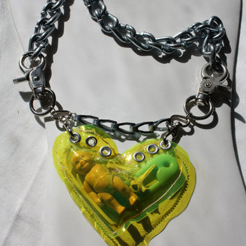 Chunky Neon Yellow Vinyl Baby, Bones and Safety Pin Stuffed Heart Pouch on Heavy thick Chunky chain goth grunge hip hop zef punk rock weird