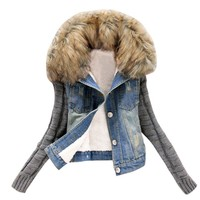 feitong Jacket Women Denim Coat loose fit casual style Casual Coat Autumn Outwear Women Clothes female jackets winter #j4s