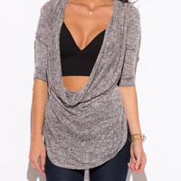 Cowl Neck Knit Tunic Top in Gray