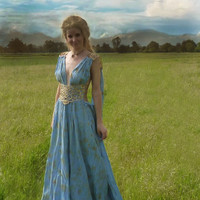 Daenerys Qarth Blue Dress Complete - Khaleesi Gown - Game of Thrones Cosplay
