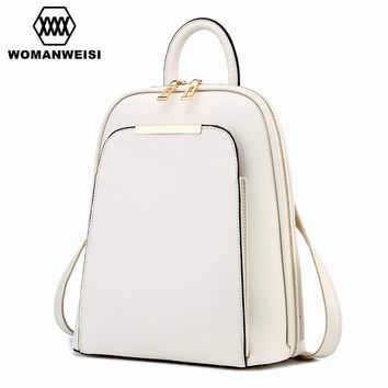 Leather Double Compartment Backpack