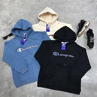 Champion 2018 autumn and winter new embroidery letter hooded loose hooded sweater