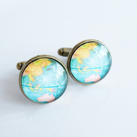 Globe Cuff Links - Glass Dome Cufflinks - Aqua Map - Jewelry Men - Travel Lover - Wedding - Groomsmen - Gift For Groom - Father Of The Bride