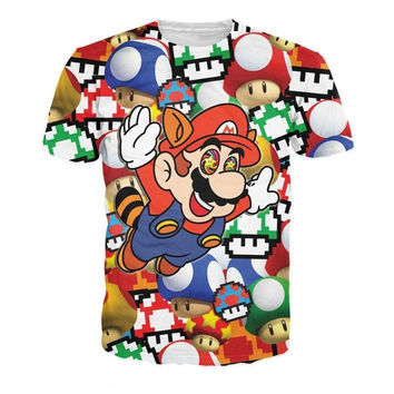 2015 men/women 3D t shirts graphic print cartoon Super Marios tee shirt t-shirts funny summercasual short sleeve tops