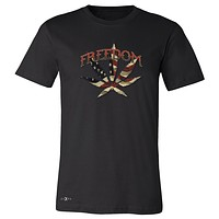 """Zexpa Apparelâ""""¢ Freedom Weed Legalize It Men's T-shirt Old America Flag Pattern Tee"""