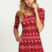 Reindeer Snowfall Knit Tee Dress
