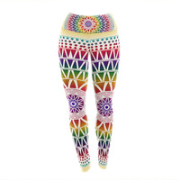 "Famenxt ""Colorful Vibrant Mandala"" Rainbow Geometric Yoga Leggings"