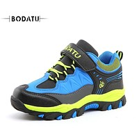 BODATU Outdoor Sneakers for Boys Running Walking Shoes Soft Warm Non-Slip Kids Sport Children Safety Fashion hiking shoesDS1661