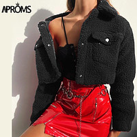 Aproms Fashion Black Pockets Buttons Jackets Women Long Sleeve Slim Crop Top Winter Coats Cool Girls Streetwear Short Jacket