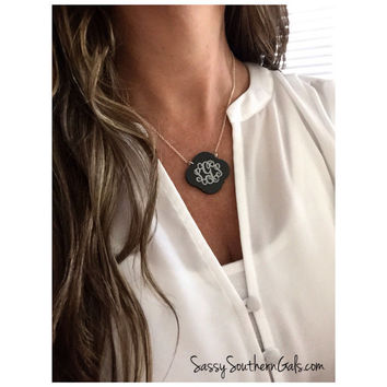 Monogrammed Engraved Acrylic Necklace, Monogrammed Necklace, Monogrammed Gift