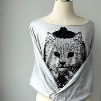 Cat Screenprinted  Pullover Oversize style Bat Style Half Body In Grey sweater