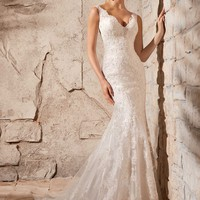 Mori Lee 2708 Lace Fit and Flare Wedding Dress