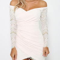 White Asymmetric Off-Shoulder Lace Mini Dress