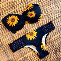 Fashion Bikini Sunflower Swimsuit Swimwear