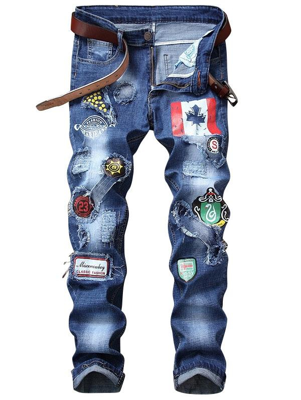 Image of Men's Straight Distressed Flag Graphic Print Jeans