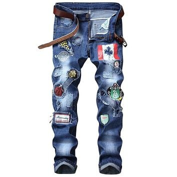 Men's Straight Distressed Flag Graphic Print Jeans