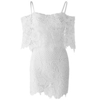 Sexy Slash Collar Short Sleeve Solid Color Lace Women's Dress