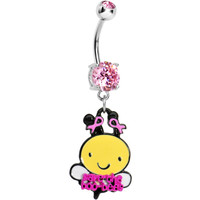 Pink Gem Save the Boo-Bees Breast Cancer Awareness Dangle Belly Ring   Body Candy Body Jewelry