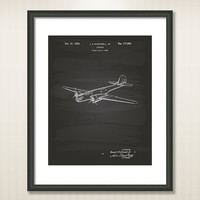 Airplane 1939 Patent Art Illustration - Drawing - Printable INSTANT DOWNLOAD - Get 5 Colors Background